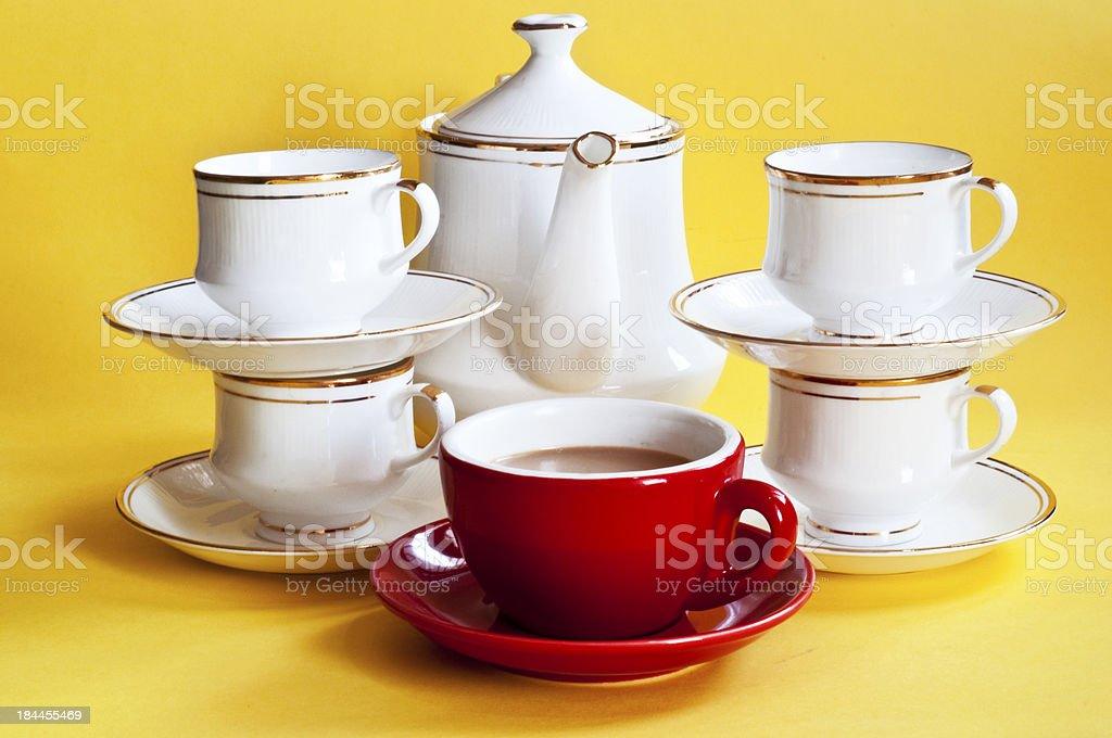 Red tea cup standing out from the crowd royalty-free stock photo
