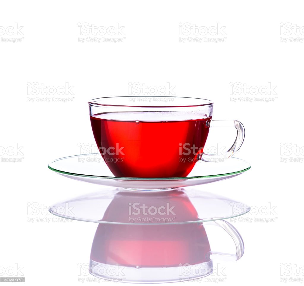 Red Tea in Glass Cup stock photo