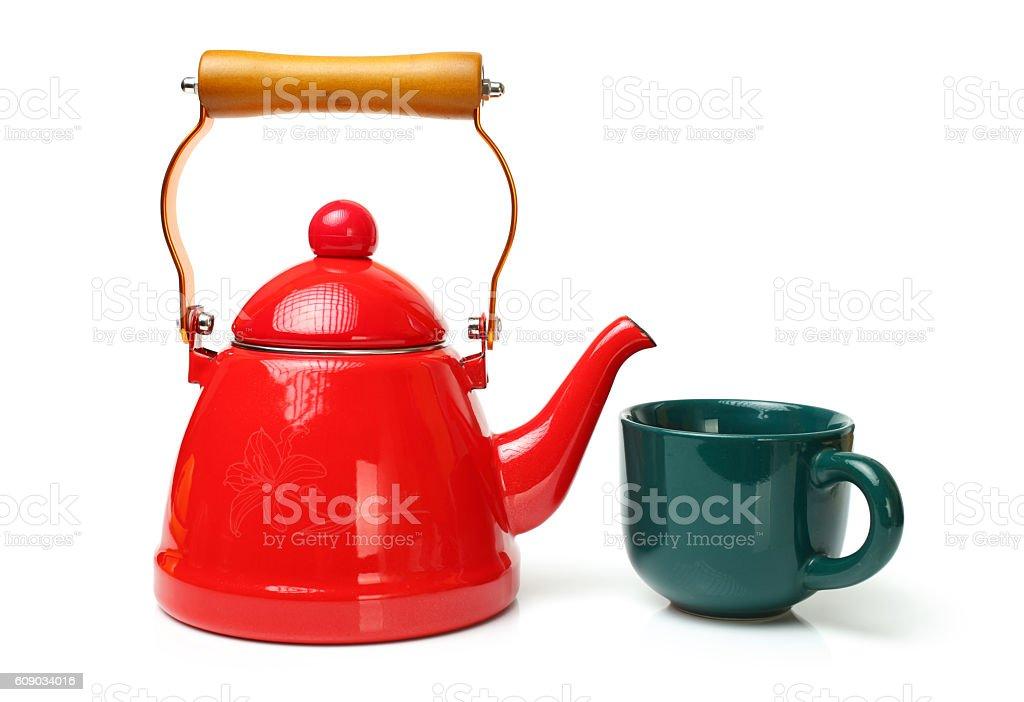 Red tea kettle stock photo