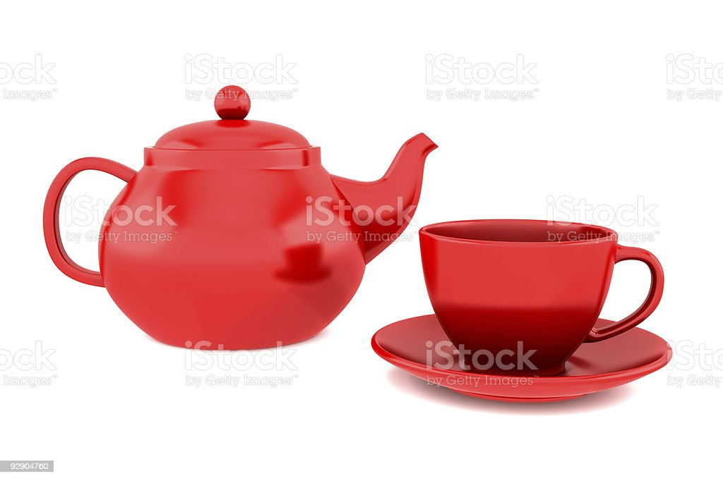 red teapot and cup isolated on white background stock photo