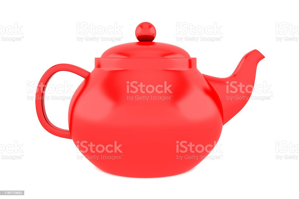 red teapot isolated on white background stock photo