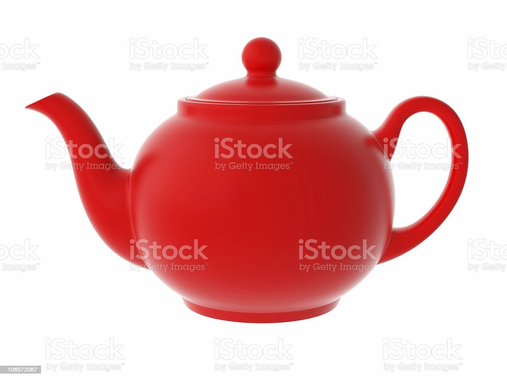 red teapot isolated stock photo
