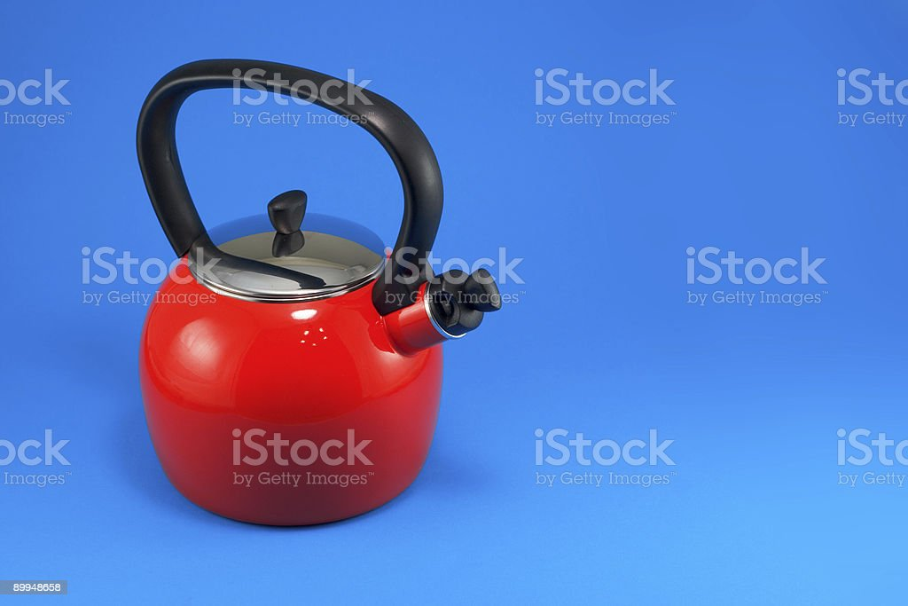Red Teapot on Blue royalty-free stock photo