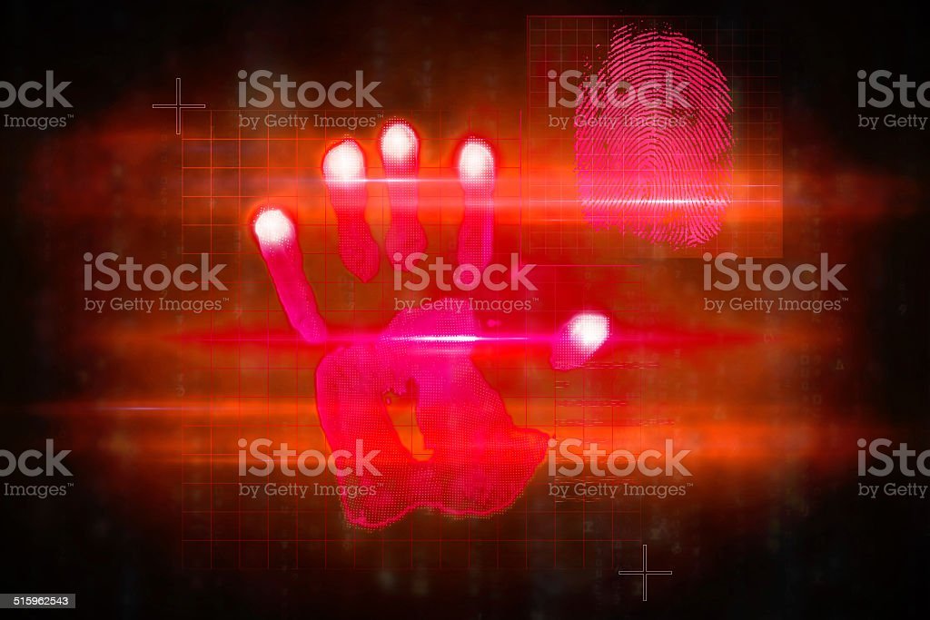 Red technology hand print design stock photo