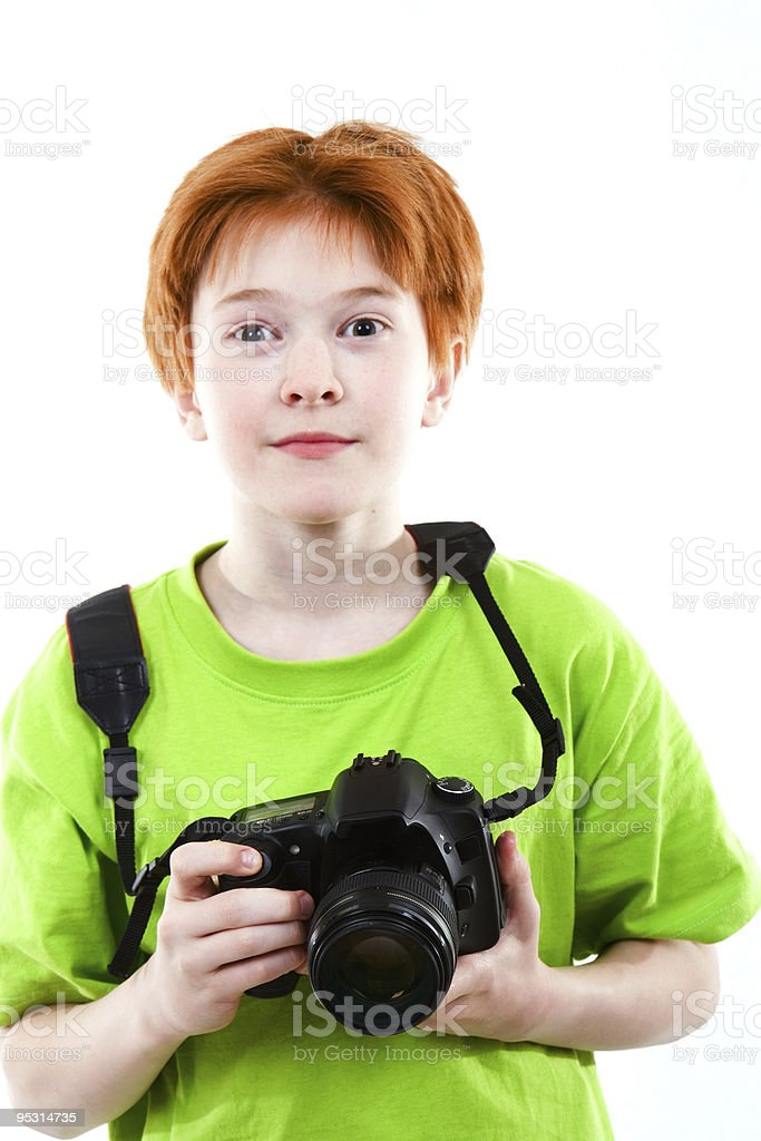 Red teen photographes royalty-free stock photo