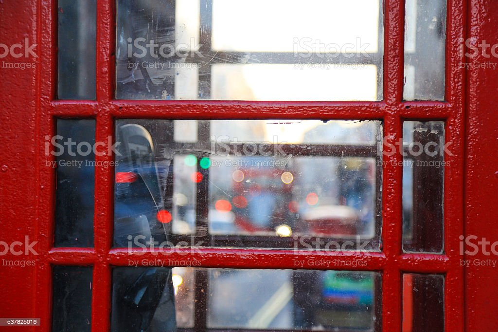 Red telephone booth in London stock photo