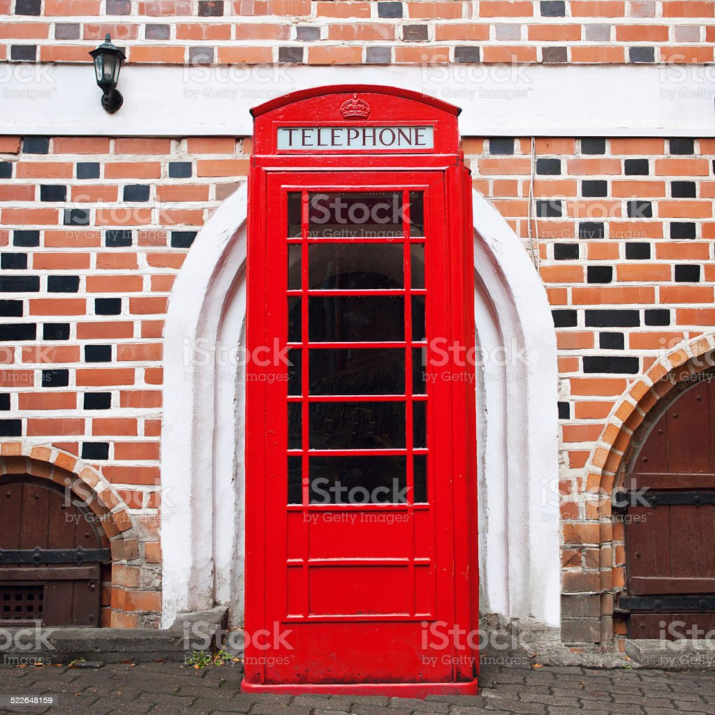 Red telephone booth, London stock photo