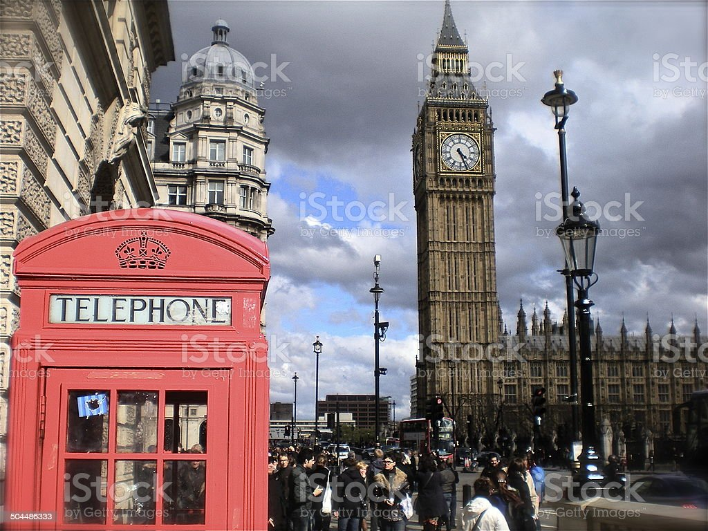 Red Telephone Booth Outside of Big Ben, London stock photo