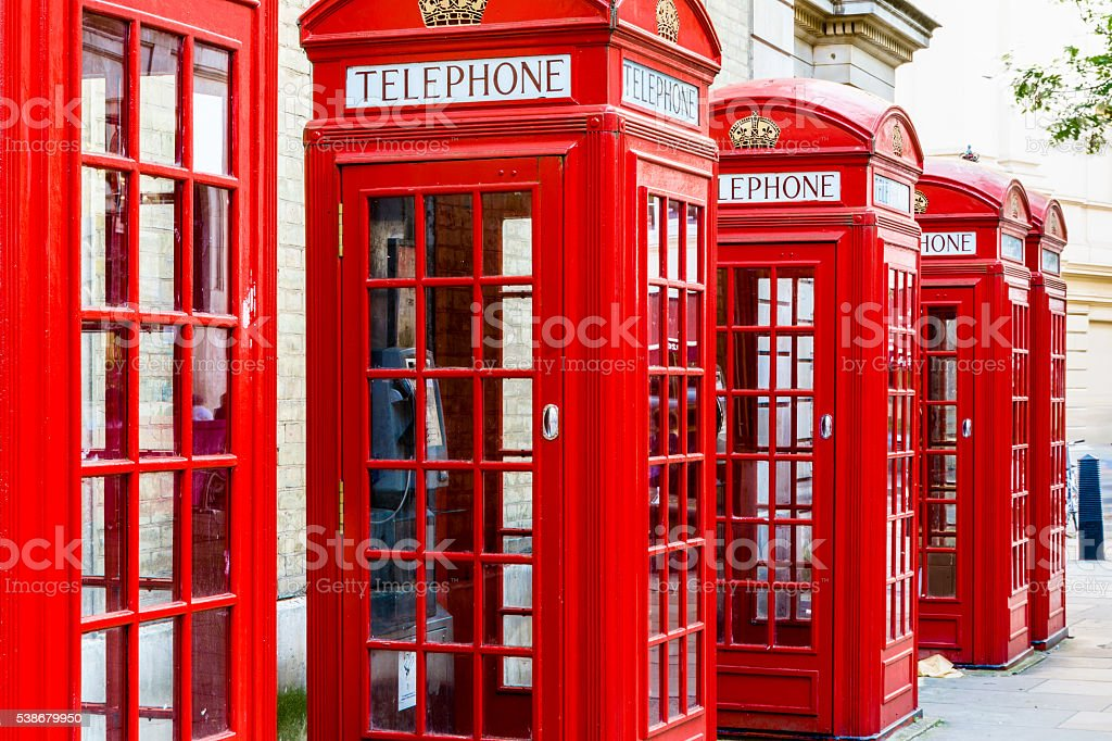 Red Telephone Booths stock photo