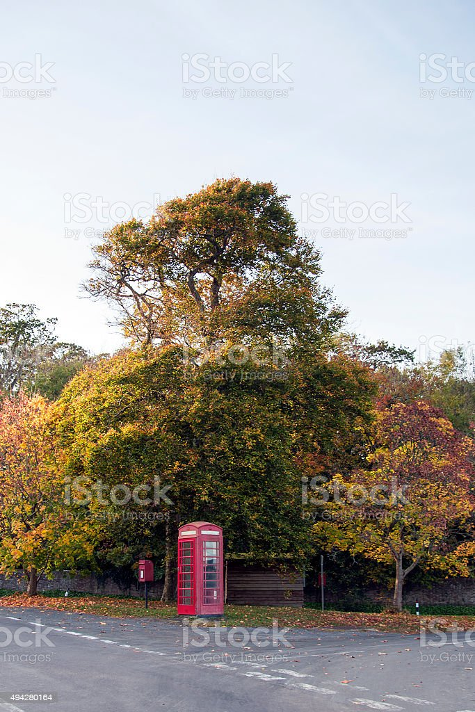 Red telephone box and post box in East Lulworth royalty-free stock photo