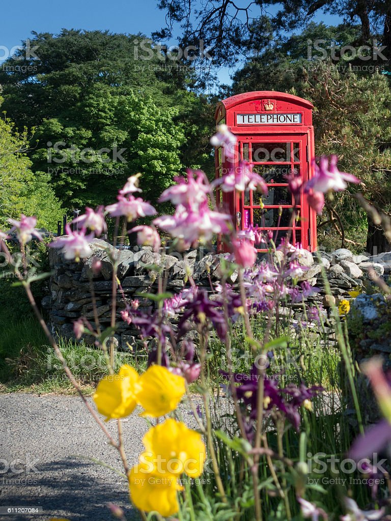 Red telephone box and spring flowers stock photo