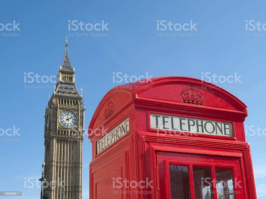 Red telephone box in front of Big Ben London royalty-free stock photo