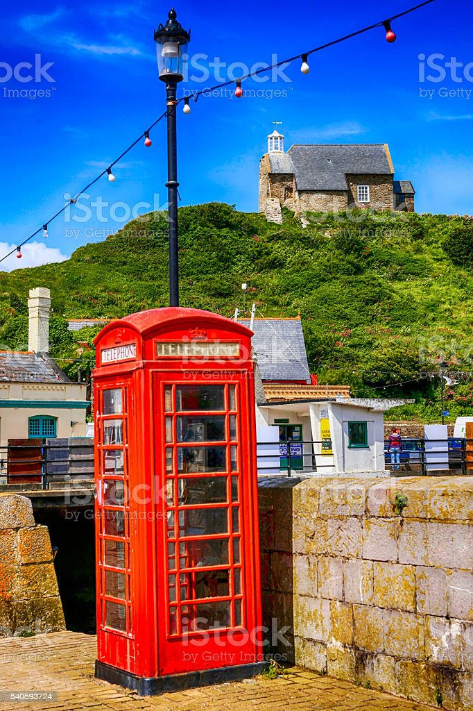 Red Telephone Box in Ilfracombe, UK stock photo