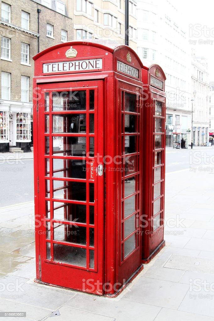 Red telephone boxes, London Uk stock photo