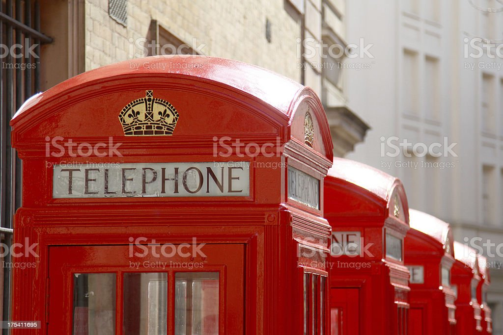Red telephone boxes royalty-free stock photo