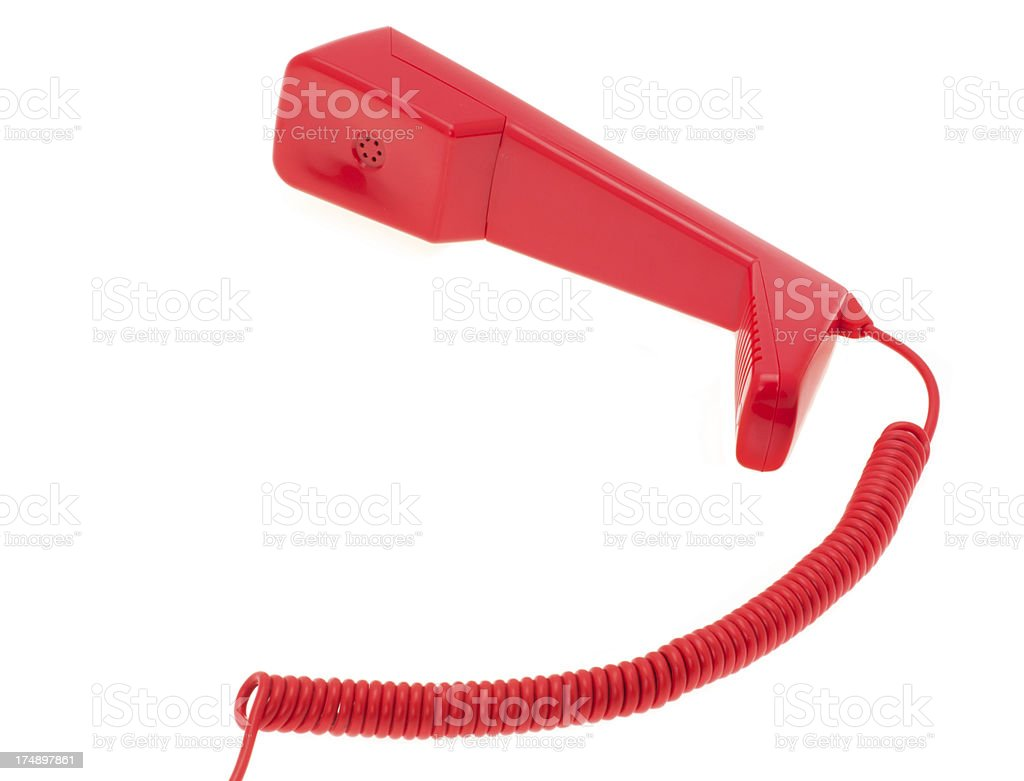 Red telephone handset receiver and cord royalty-free stock photo