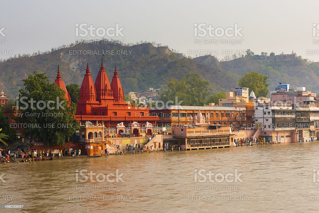 Red Temple Ganges River People Bathing stock photo