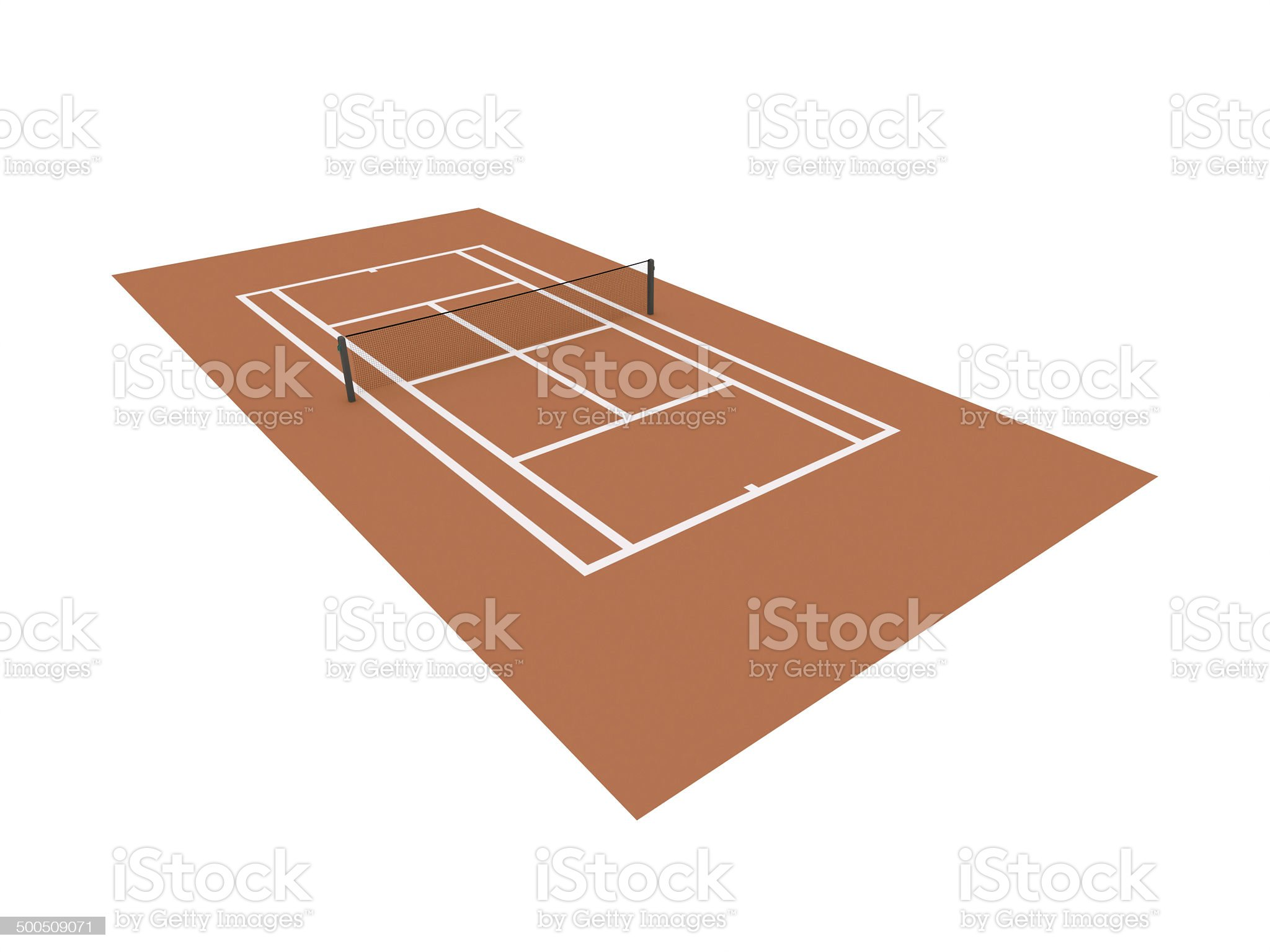 Red tennis court rendered isolated royalty-free stock vector art