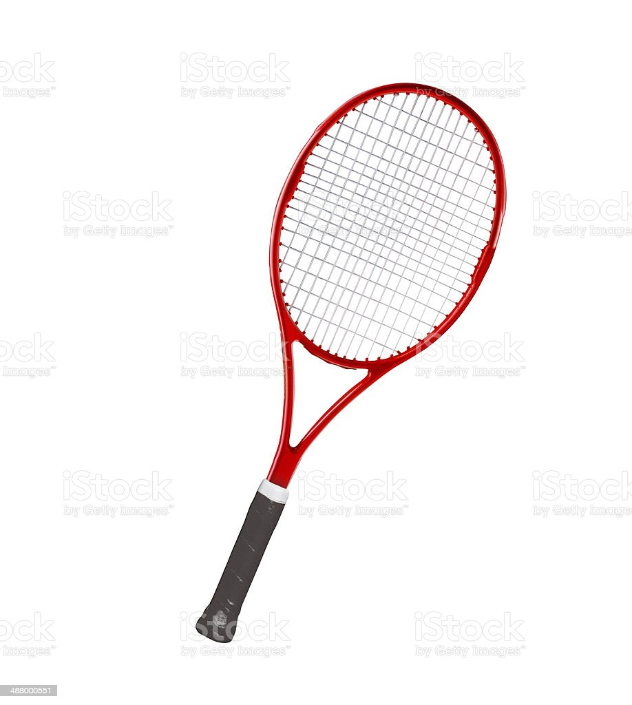 Red tennis racket isolated white background stock photo