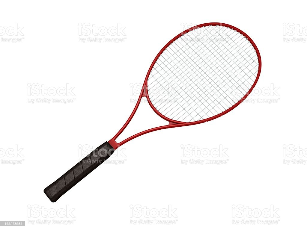 Red tennis racket on white background stock photo