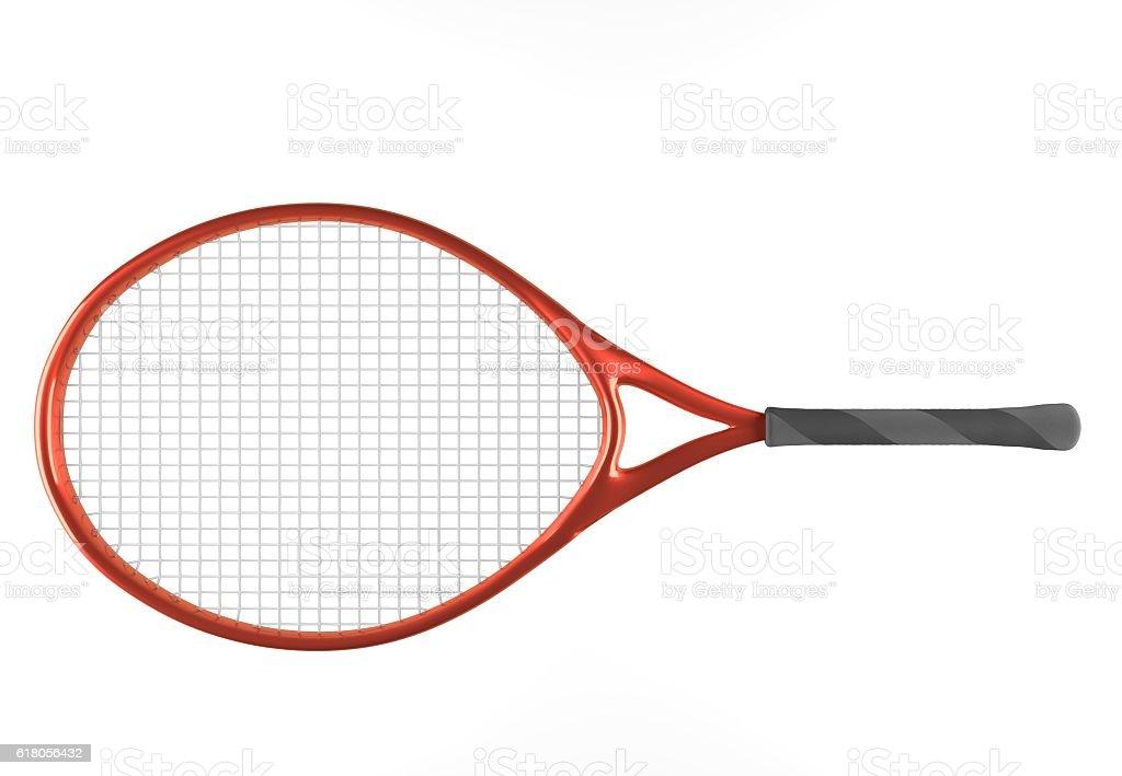red tennis racket stock photo