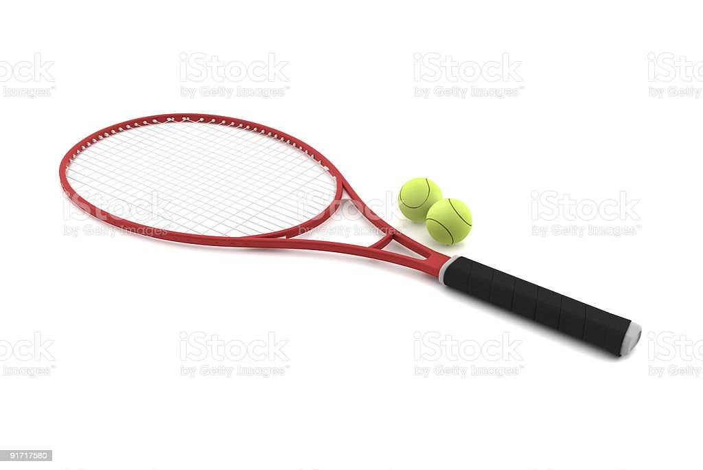 red tennis racket with two balls isolated on white background stock photo