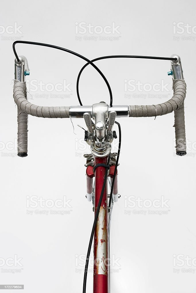 Red Ten-Speed Bike Handlebars stock photo