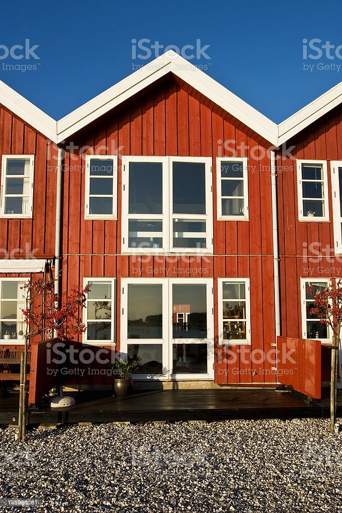 Red terrace house royalty-free stock photo
