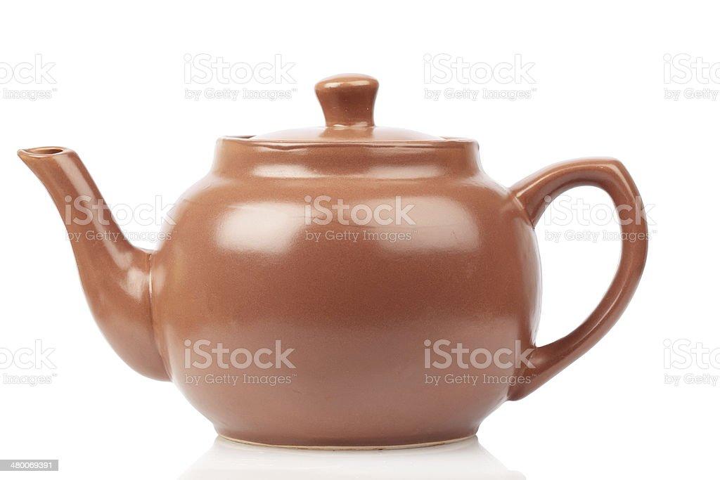 Red terracotta teapot stock photo