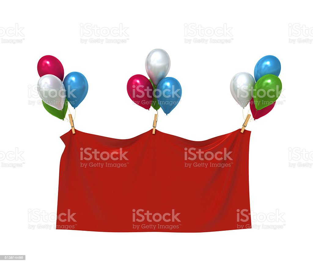 red textile banner with heart balloons stock photo