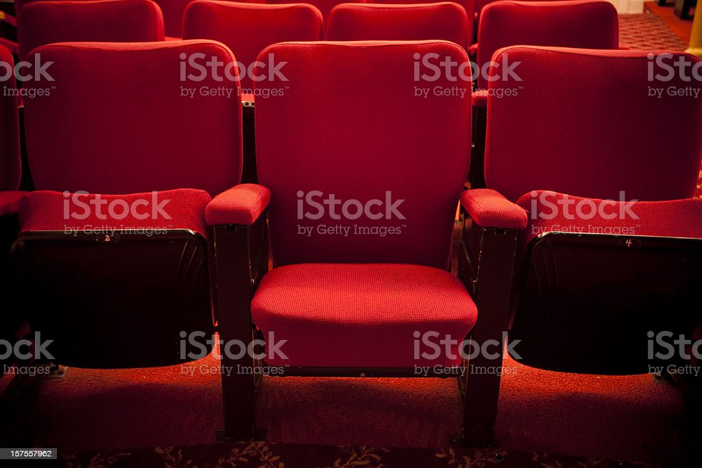 Red theater event seating stock photo