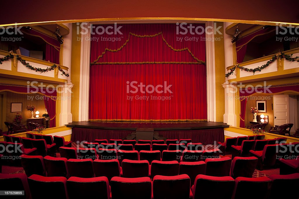 Red theater performance stage stock photo