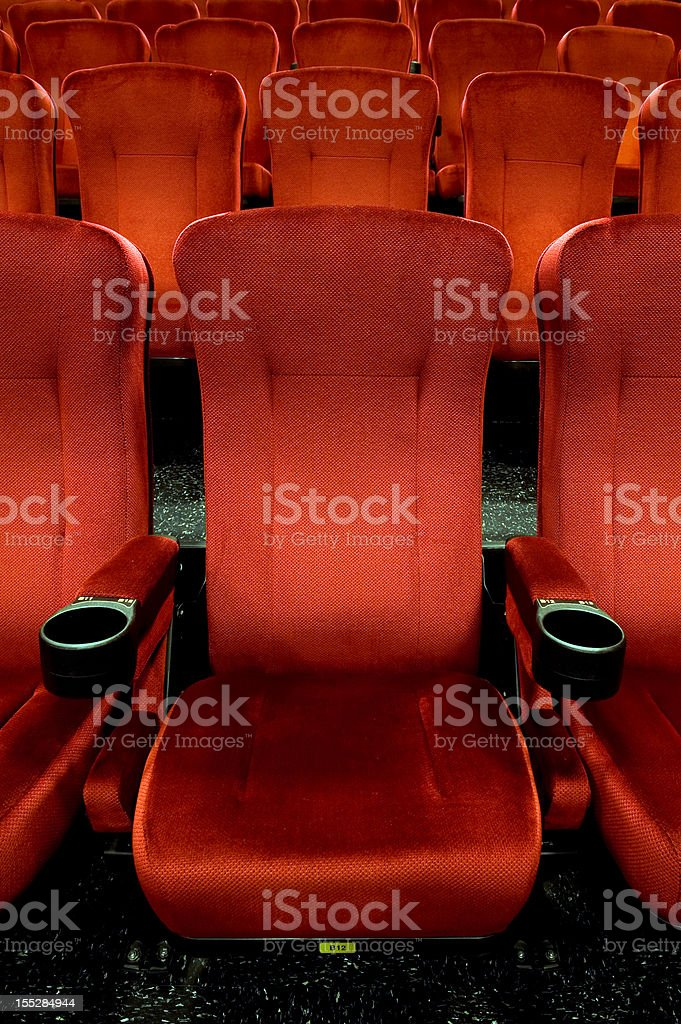 Red theatre seats stock photo