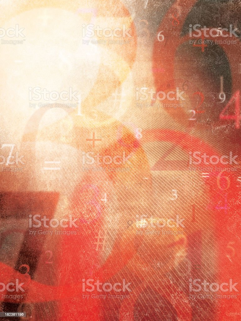 Red themed background of numbers stock photo