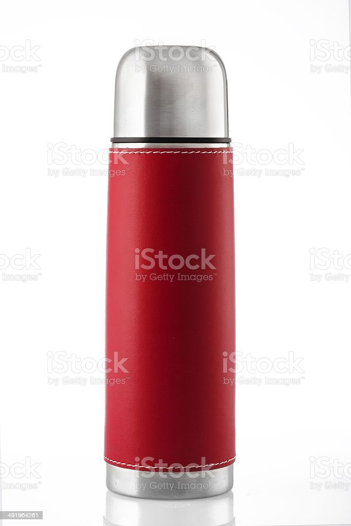 Red thermos isolated on white stock photo