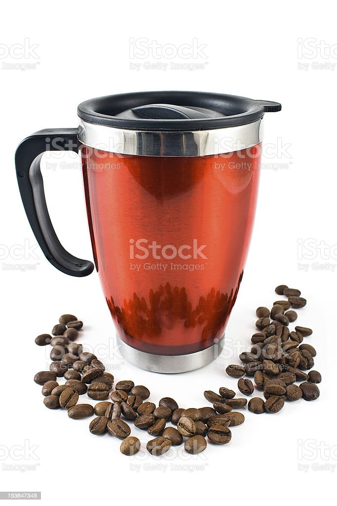Red thermos with coffee beans royalty-free stock photo