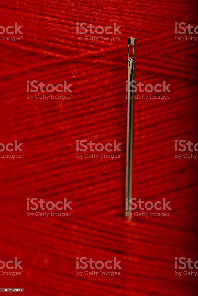 Red Thread and Needle royalty-free stock photo
