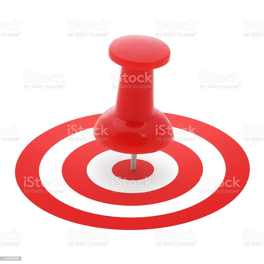 Red Thumbtack on Target stock photo