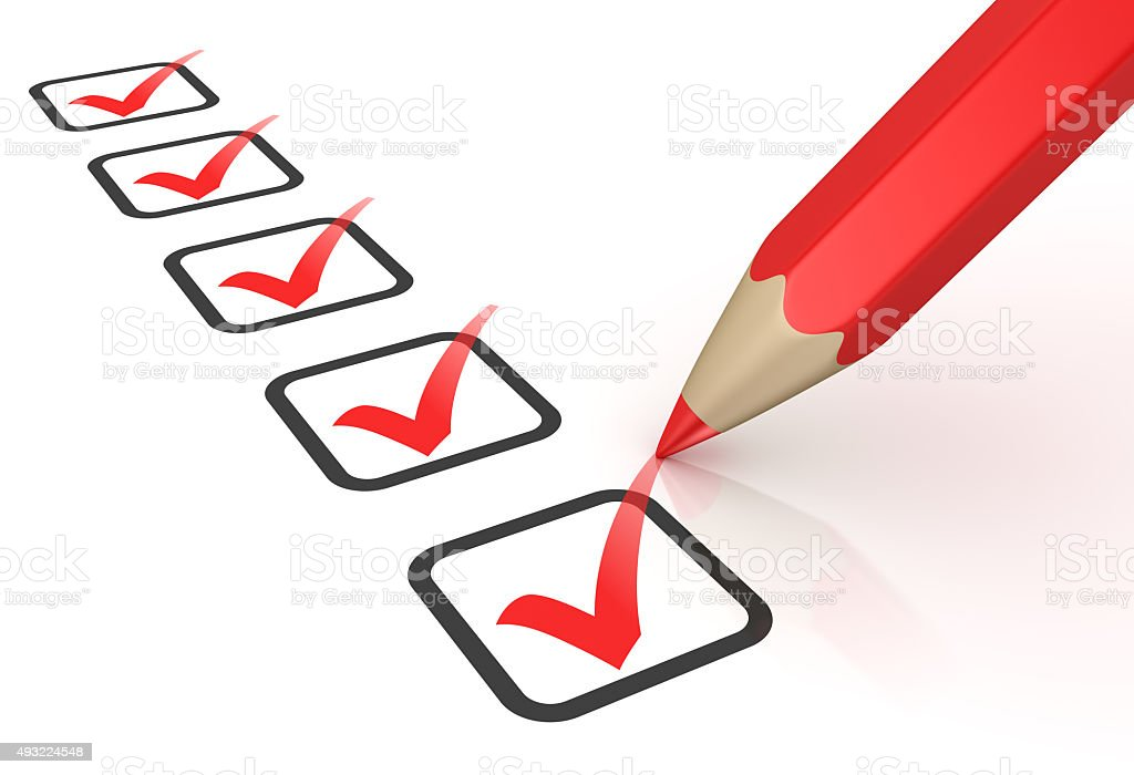 Red ticks in checkboxes and pencil stock photo