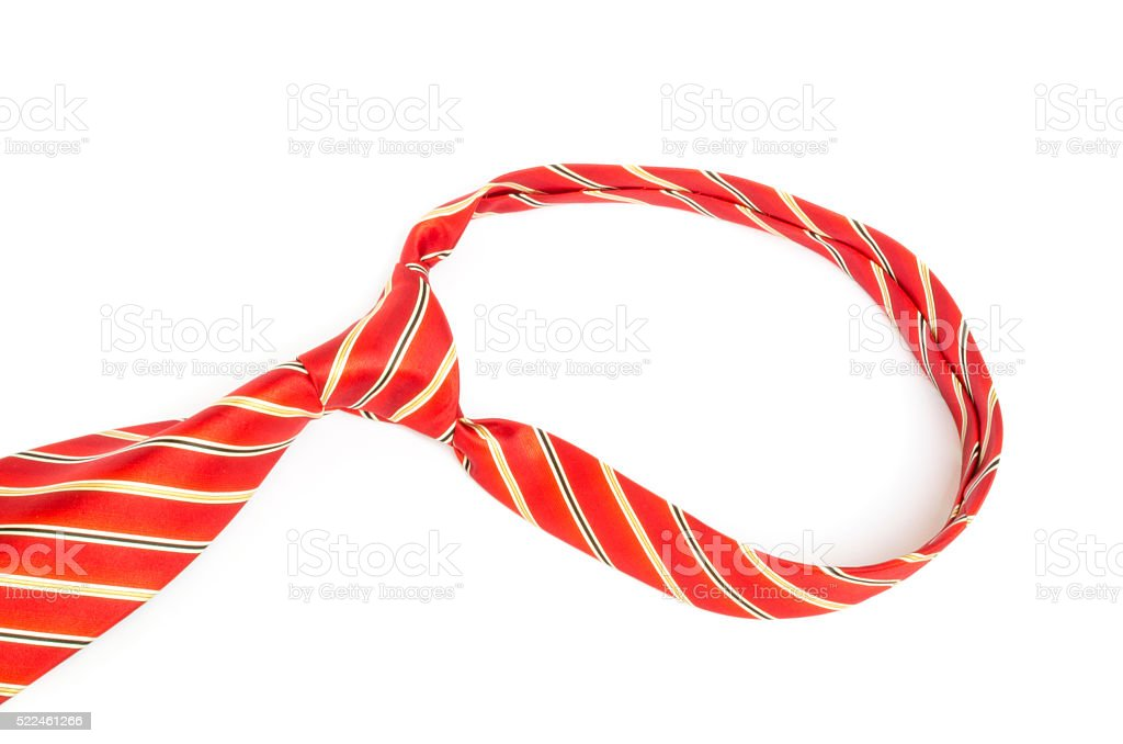 Red tie knot on white background stock photo