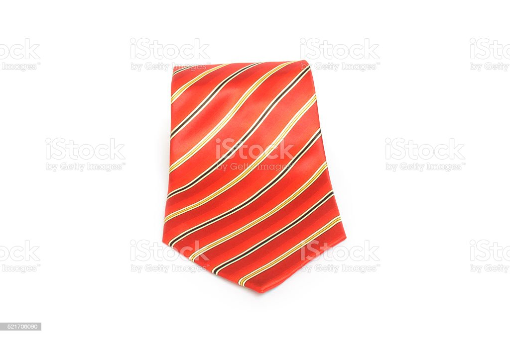 Red tie with golden stripes stock photo
