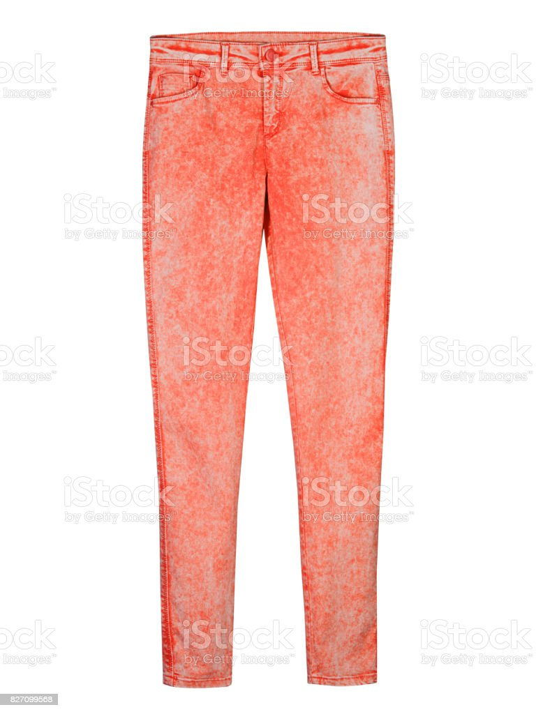 Red tight slim woman denim trousers pants leggins isolated on white stock photo