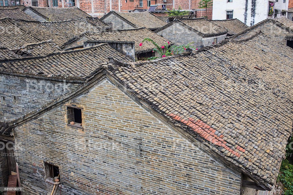 Red tile roof, aka Spanish or Mission clay tiles stock photo