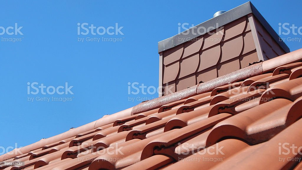 Red tile roof stock photo