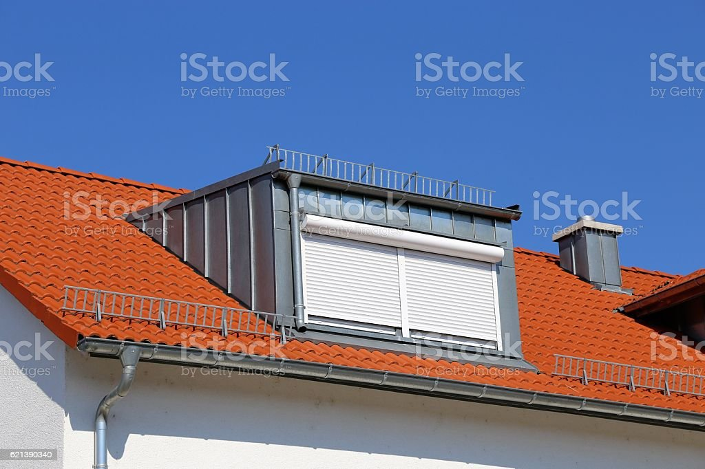 Red tile roof with dormer stock photo