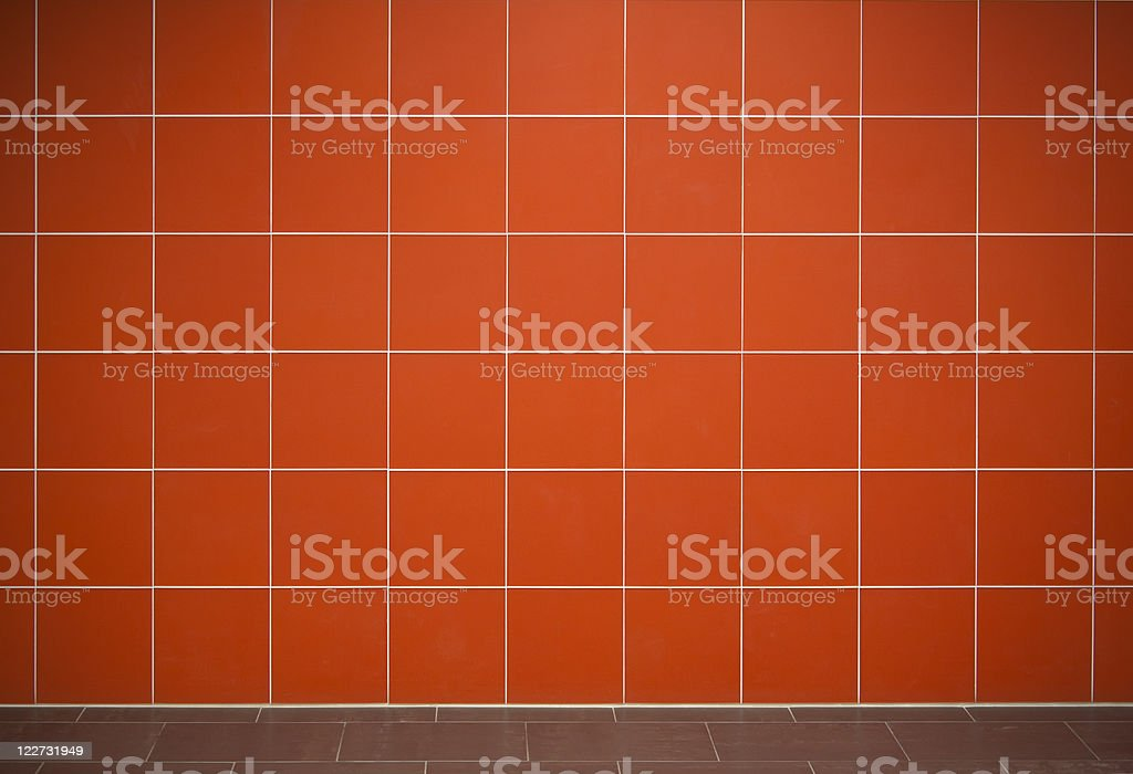 Red tile wall background stock photo