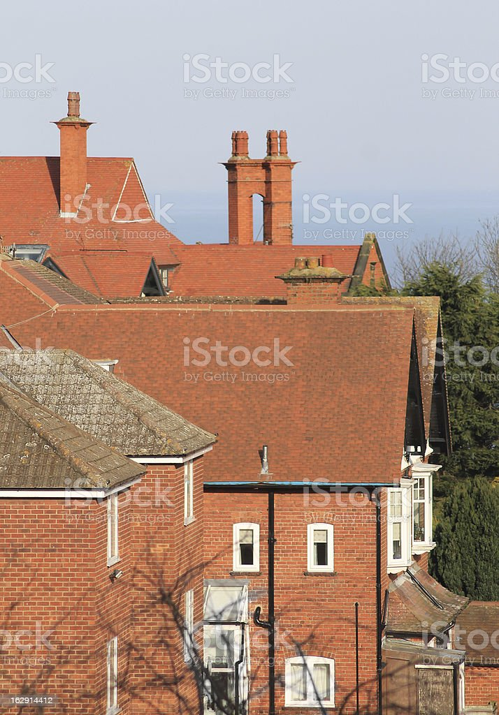 Red tiled house rooftops royalty-free stock photo