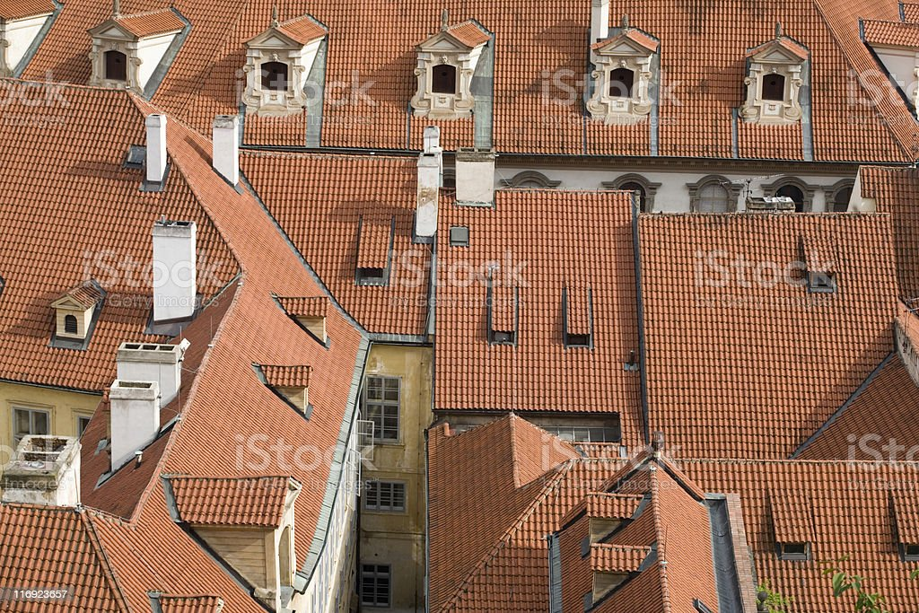 red tiled roofs in the historic centre of Prague royalty-free stock photo