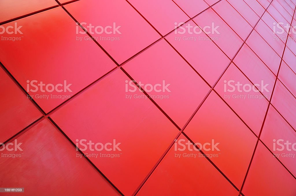Red tiled wall stock photo