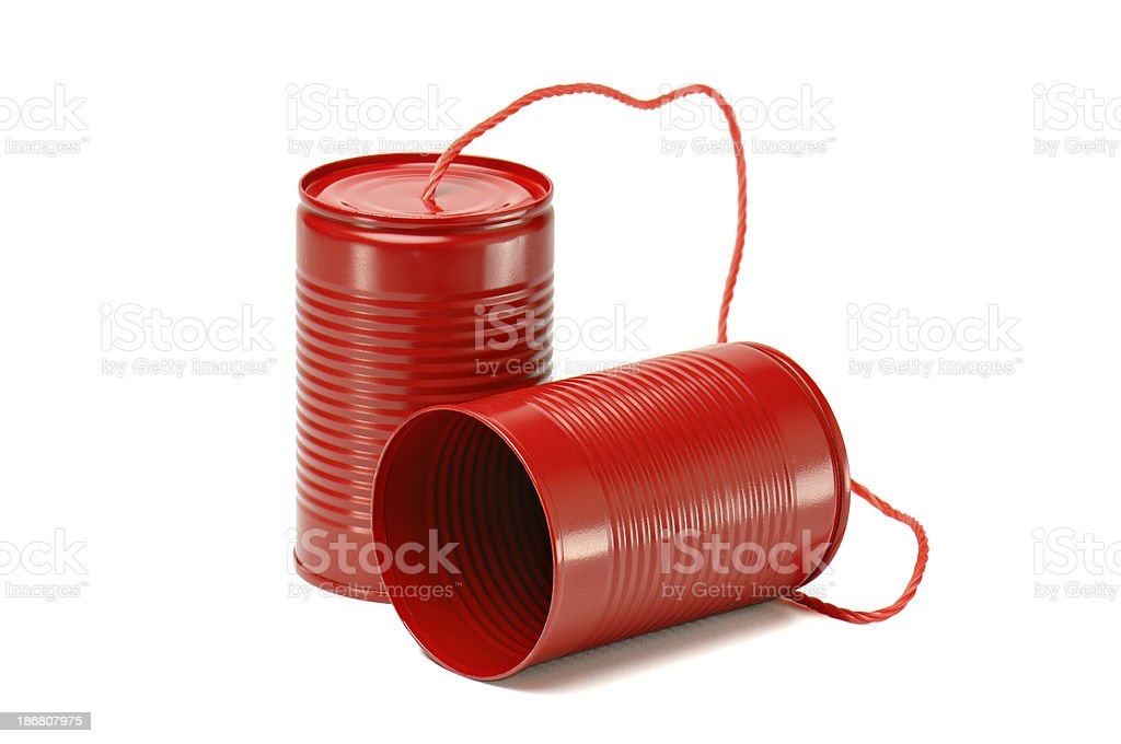 Red Tin Cans Phone royalty-free stock photo
